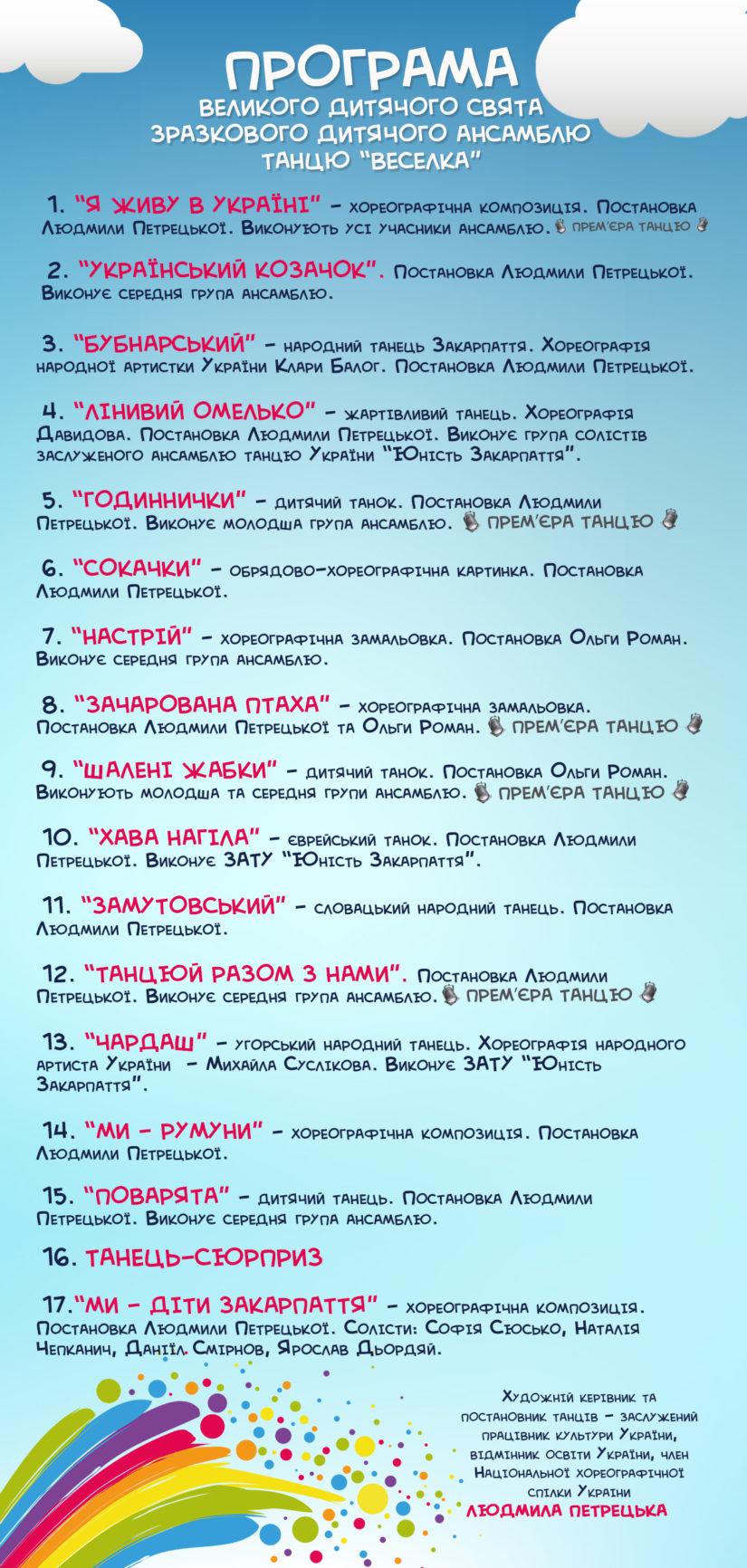 """В Ужгороді гучно відзначатимуть ювілей """"Веселки"""" (Програма)"""