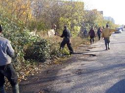 В Ужгороді розчищають чагарник на вул.Можайського. Люди ж захищають… парк