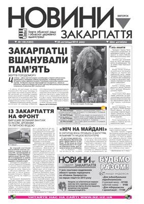 Номер газети Новини Закарпаття 25/11/2014 № 132 (4303)