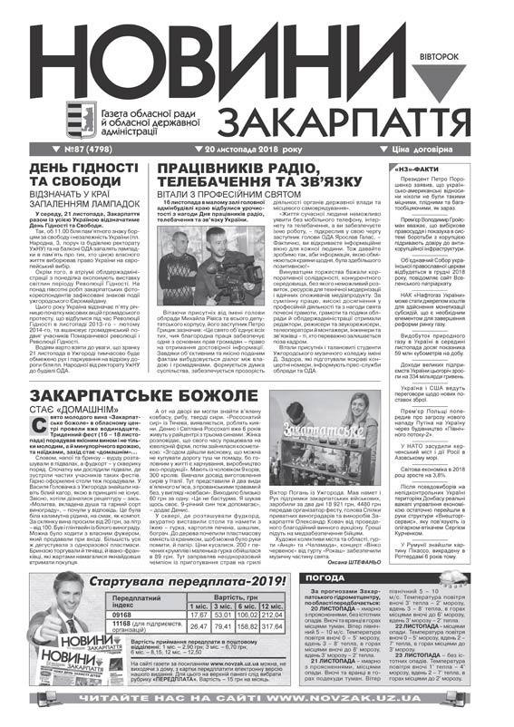 Номер газети Новини Закарпаття 2018\20\11 № 87 (4798)